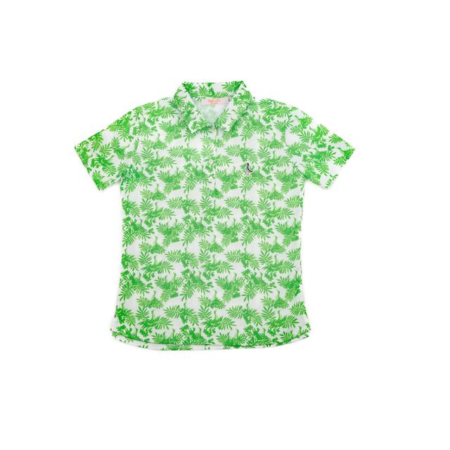 【 LADIES 】サンゴクロス ポロシャツ 【やんばる ティーチくん 】(GREEN)