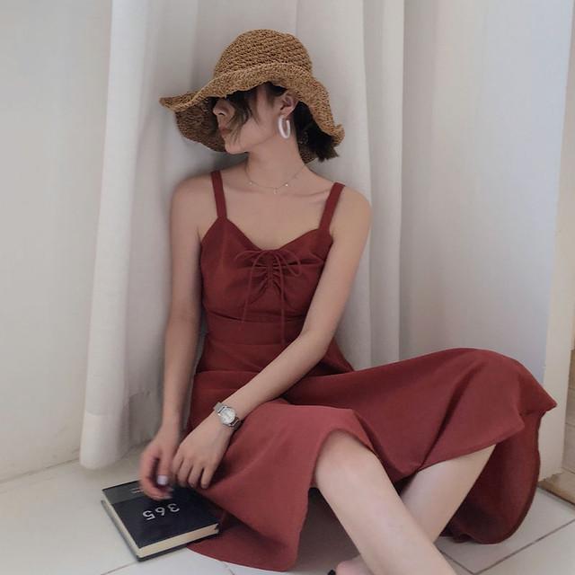【dress】ハイウエストレトロ無地ノースリーブワンピース