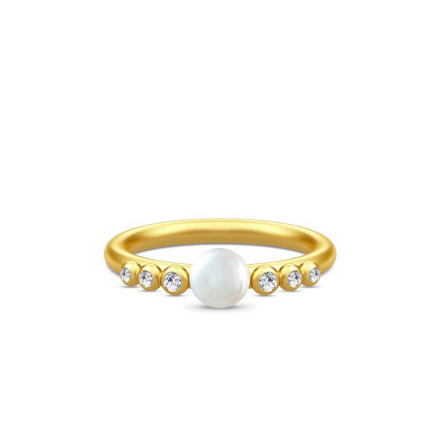 JULIE SANDLAU PERLA RING  WHITE PEARL