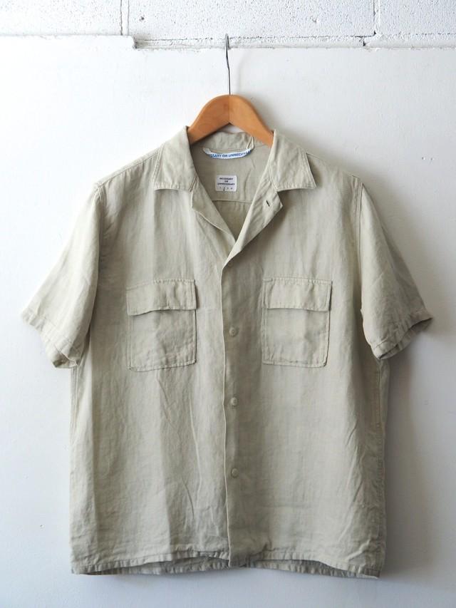N.O.UN Two Pocket Shirt Linen Natural,Navy