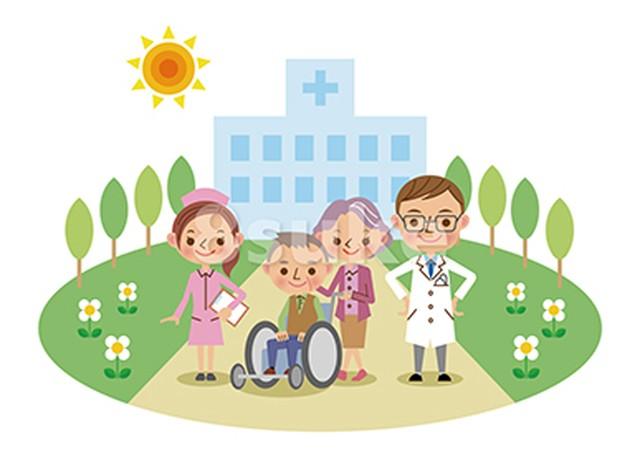 イラスト素材:病院と医療スタッフ・介護イメージ/医師・ナース・患者(ベクター・JPG)