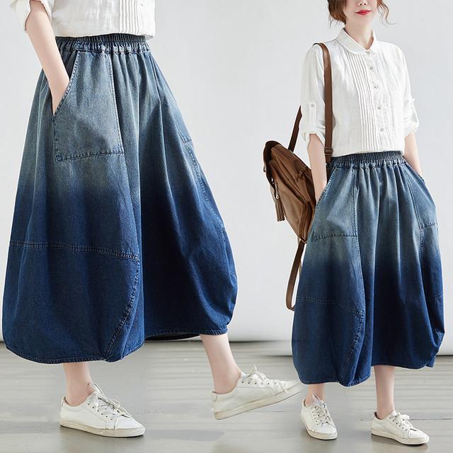 【涼し気☆デニム グラデーション スカート】バルーンスカート ウエストゴム M L XL 2XL 大きいサイズ 美しいマキシ 軽やか 裏地なし オールシーズン