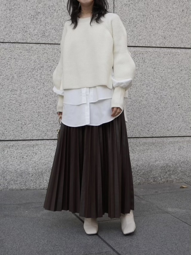 leather like pleats skirt / brown 12/17 21:00 ~ 再販 (即納)