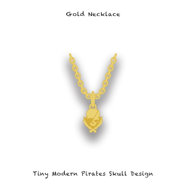 Gold Necklace / Tiny Modern Pirates Skull Design