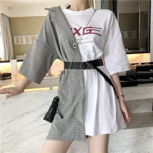 韓国ファッション ルーズワイルド ステッチ フェイク Tシャツ
