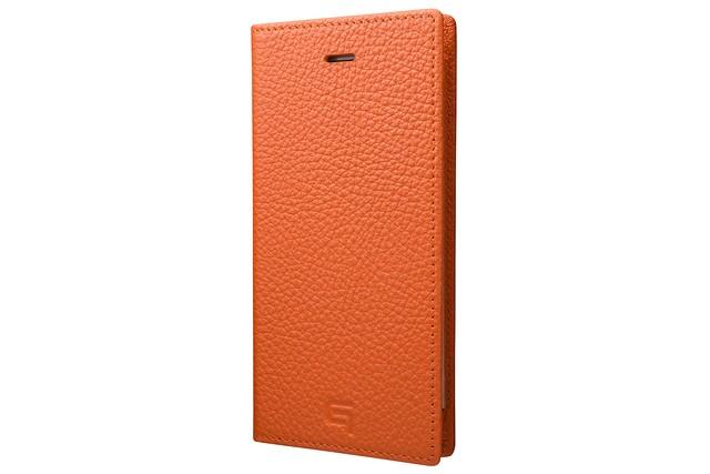 GRAMAS Shrunken-calf Full Leather Case for iPhone 7(Orange) シュランケンカーフ 手帳型フルレザーケース - メイン画像