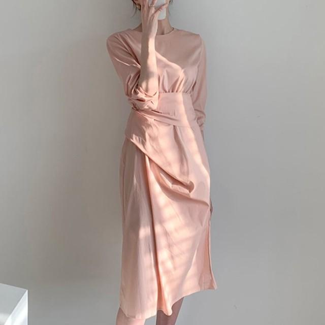 【dress】切り替えニットフェミニン大人気ワンピース 23035404