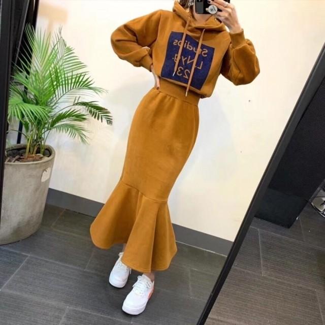 アーモンドフードトゥーピース セットアップ 韓国ファッション