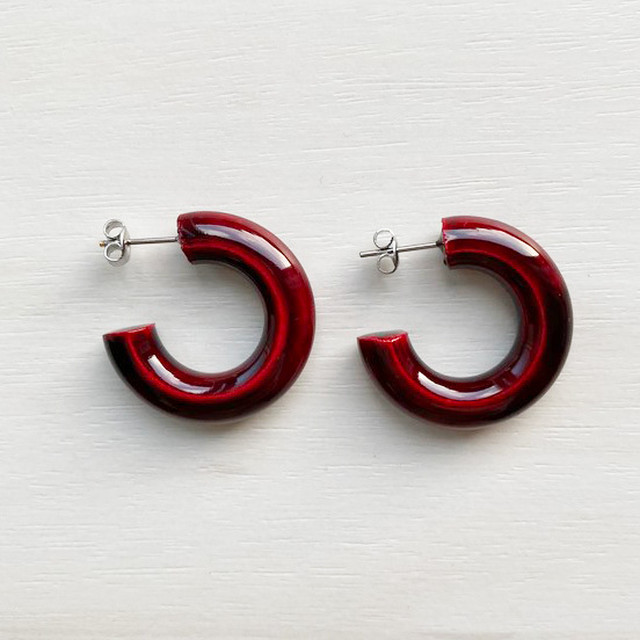 飛騨春慶のピアス フープmini 紅 (A031)