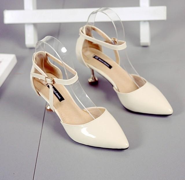 ピンヒールストラップパンプス フェミニン ハイヒール サンダル 7cmヒール セパレート エナメル PUレザー レディース 春夏 靴