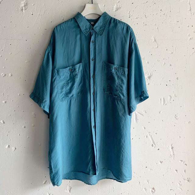 Euro vintage silk shirt -sky blue-