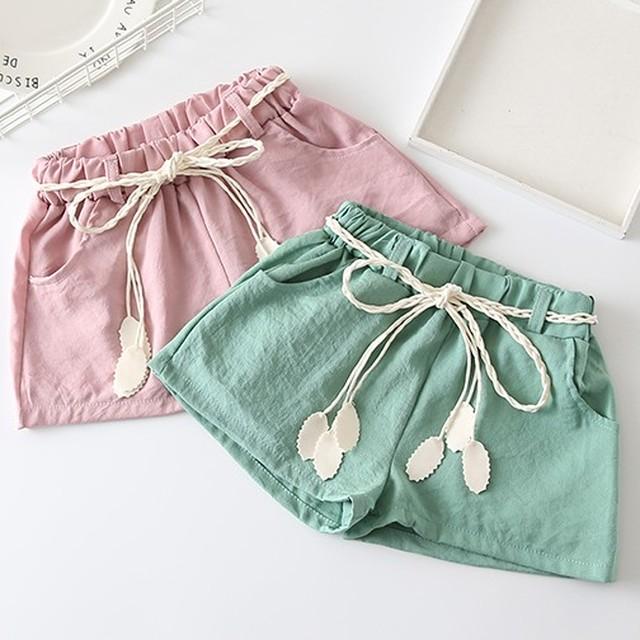 【子供服】可愛らしさ満載のキュート清新カジュアル無地ルーズガールズショートパンツ20746704