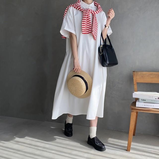 short sleeve simple shirt one-piece