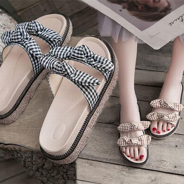 チェック柄 リボン サンダル 22.5〜25.0cm ダブルベルト フラット 厚底サンダル 歩きやすい かわいい フェミニン /Slippers herringbone cute sandals (DTC-588162485550)