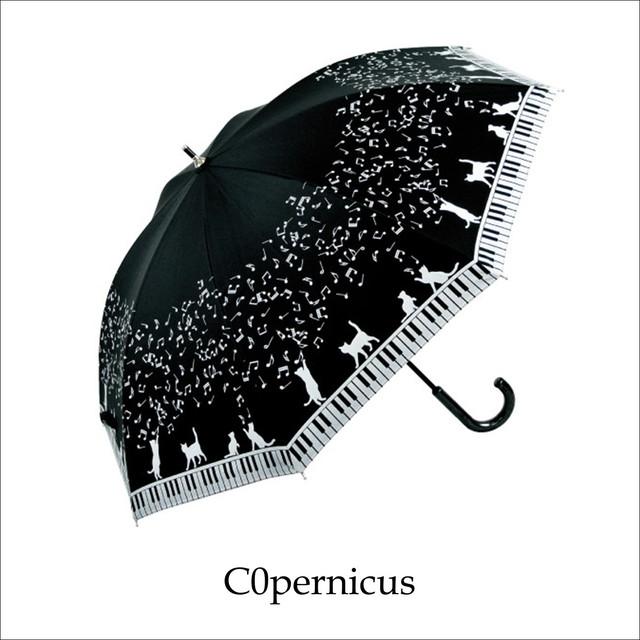 ネコモチーフピアノ/47㎝/晴雨兼用雨傘UVカット率99%/男女兼用傘 浜松雑貨屋 C0pernicus