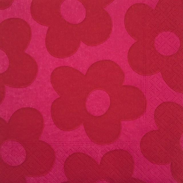 廃番【Malin Westberg】バラ売り1枚 ランチサイズ ペーパーナプキン BLOMMOR ピンク
