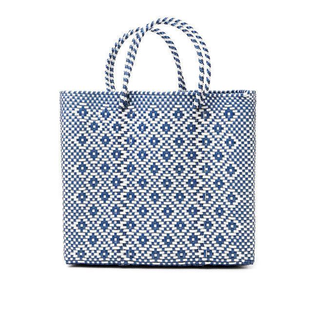 MERCADO BAG ROMBO METALIC - Metalic Blue x White(M)