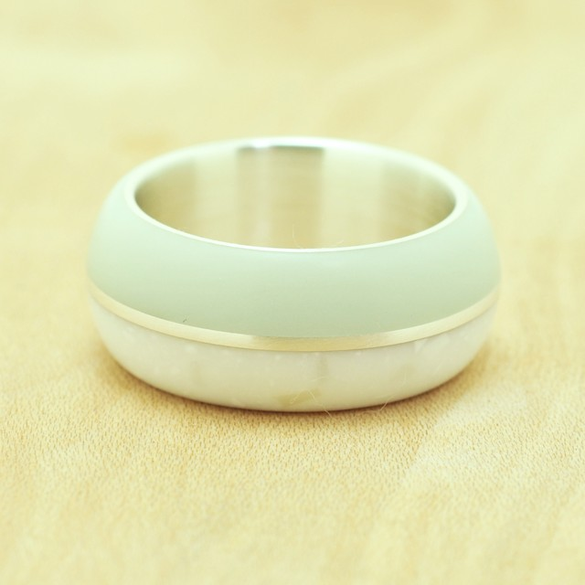 Birth room ring#10 / Color Lightgreen&Whitemarble / Resin Silver