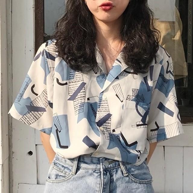 【トップス】好感度UPカジュアルプリントシンプルゆるリラックス合わせやすいシャツ43636914