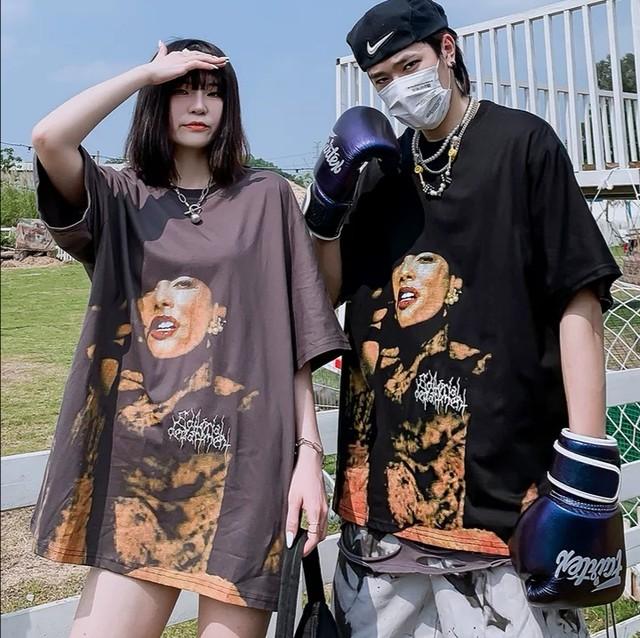 【トップス】「*ユニセック」韓国系ファッション欧米風モデル図柄Tシャツ29630904