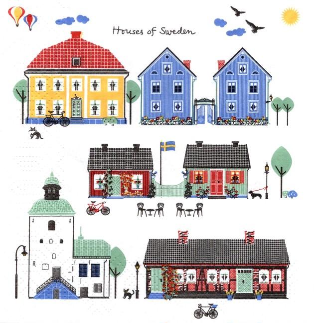 北欧【Emelie Ek Design】バラ売り1枚 ランチサイズ ペーパーナプキン HOUSES OF SWEDEN ホワイト