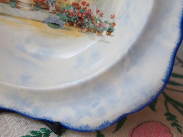イギリスアンティーク 花屋柄の小皿(L&Sons Ltd)