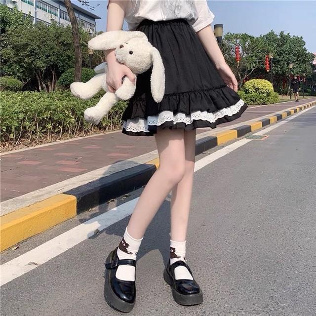 フレンチレトロ♡フリルレースショートスカート B0366