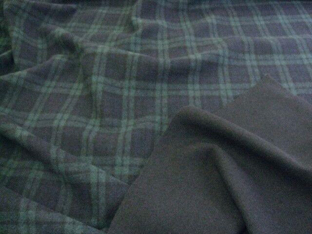 アンゴラ混二重織リバーシブル両面起毛 ブラックウォッチ UR-0130