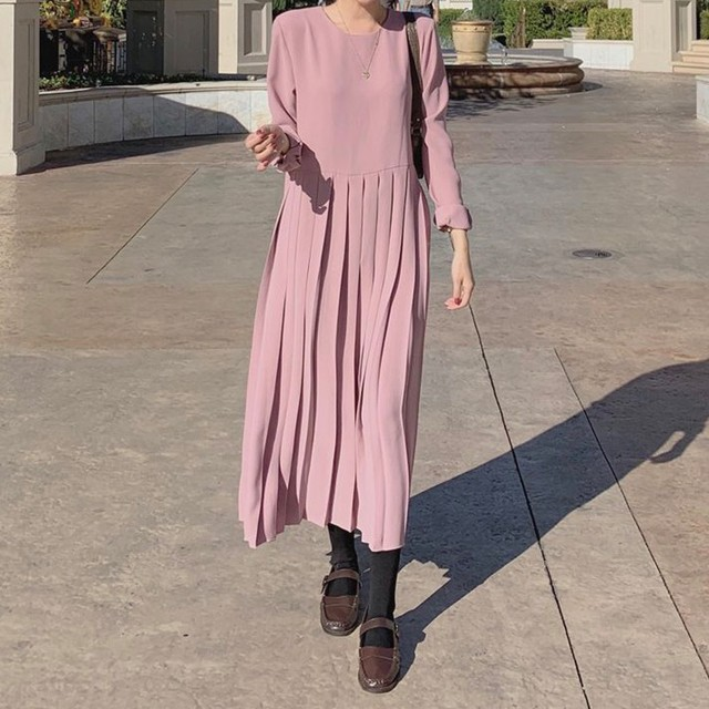 Pleated skirt dress pink / ワンピース / LE-147