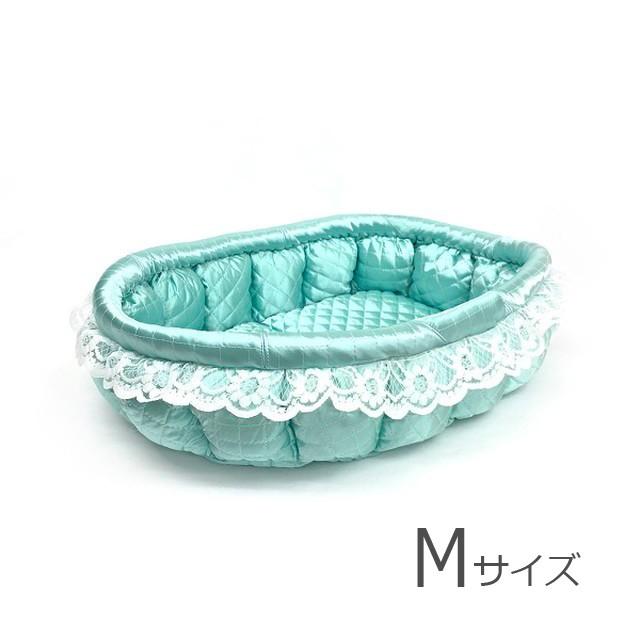 ふーじこちゃんママ手作り ぽんぽんベッド(サテンミント・幸せロールケーキ柄)Mサイズ【PB9-175M】