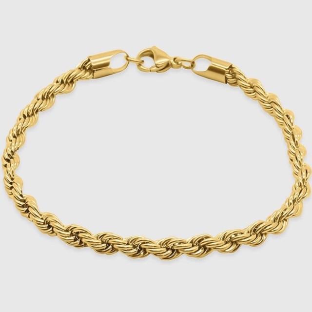 18kgp Diamond Cut Chain Bracelet 【5mm/GOLD】