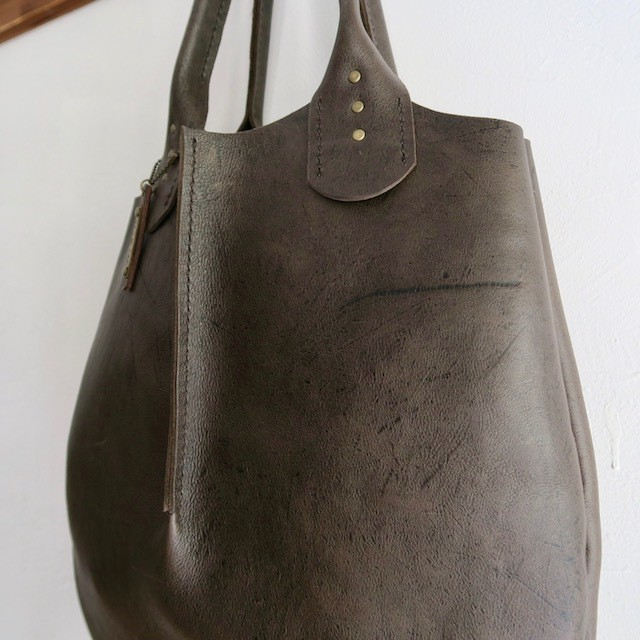 kudu naked leather tote