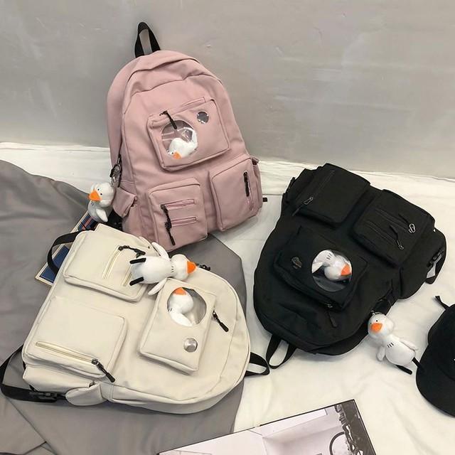 バックパック 大容量 キャンバス アヒルのぬいぐるみ付き リュック リュックサック ポケット レトロ / Multi-pocket wild large capacity backpack (DTC-622188947394)