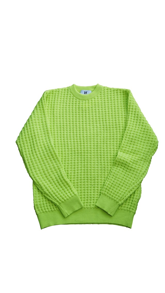 WOOL THERMAL KNIT (BIG WAFFLE)  LIME YELLOW