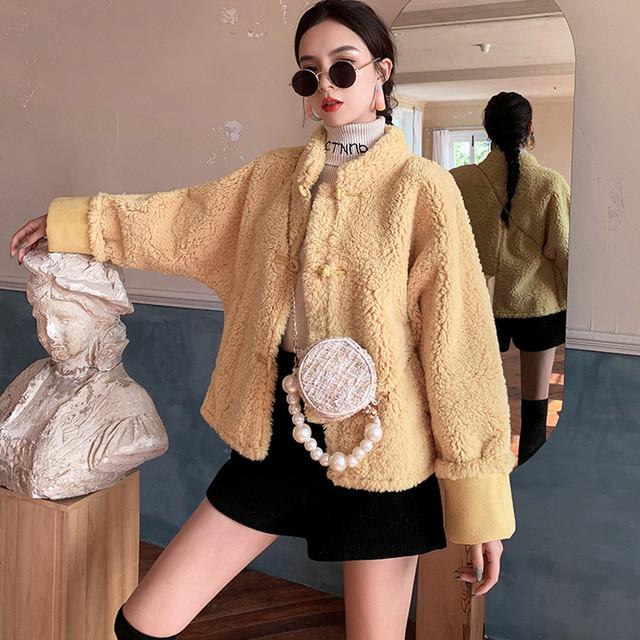 チャイナ風コート トレンチコート ショート丈アウター チャイナボタン チャイナ風服 中華服 改良唐装 改良漢服 民族風コート S M L LL 個性的 イエロー 黄色い 可愛い