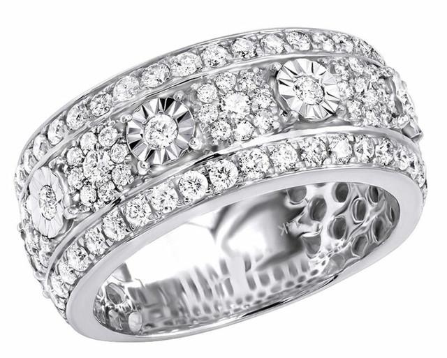 14K WHITE GOLD UNIQUE DIAMOND WEDDING BAND RING 2.25CT