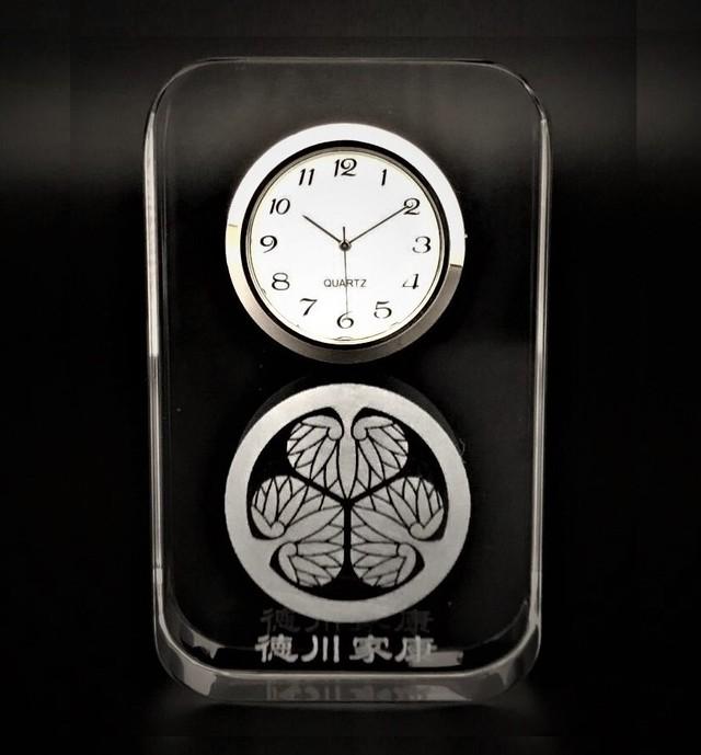 【限定】徳川家康 家紋 匠のレーザー硝子時計