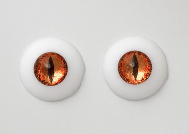 Silicone eye - 19mm Metalized Orange Red Dragon