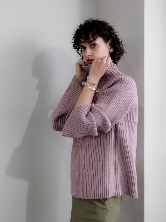 bell sleeve high neck knit(mauve)