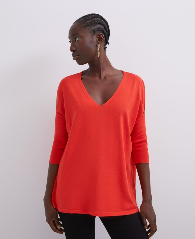 VISCOSE SWEATER WITH V-NECK [253051031311]