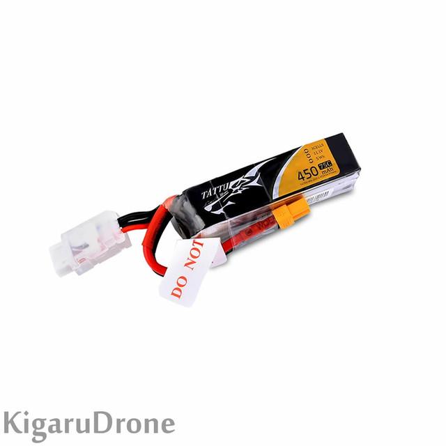 【4S 450mAh】TATTU FPV 450mAh 14.8V 75C 4S Lipo Battery  with XT30コネクター