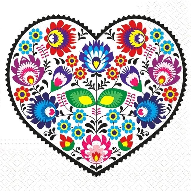 【TETE a TETE】バラ売り2枚 ランチサイズ ペーパーナプキン Lowicz Heart ホワイト