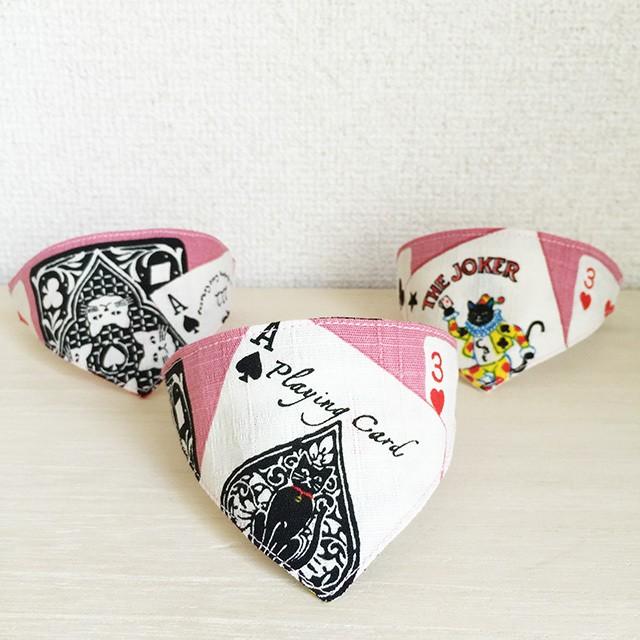 さりげなく猫♪トランプ柄ピンク★猫用バンダナ風マジックテープ首輪/子猫から成猫