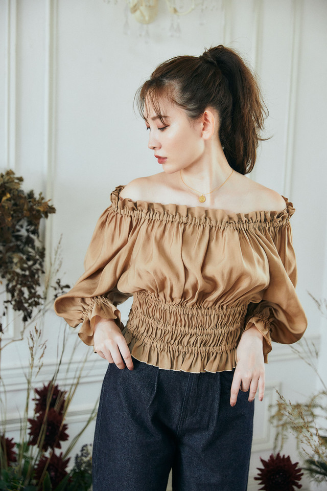 Off-the-shoulder Cropped Shirred Top