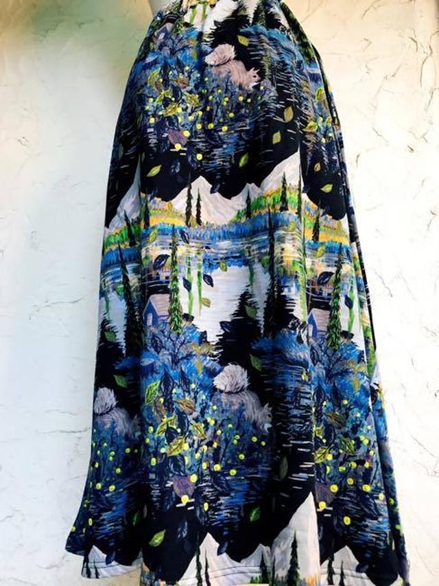 【再入荷しました】Marble Sud マーブルシュッド    季節のウツロイプリント フレアスカート  ブラック