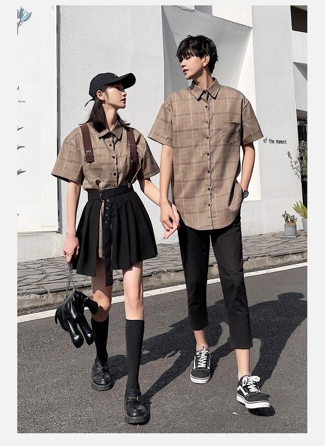 ツーピース チェックシャツ ワンピース 0943 メンズシャツ カップル ペアルック リンクコーデ カジュアル お揃い デート