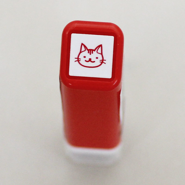 【こどものかお】スケジュールスタンプ浸透印「猫・おでかけ」