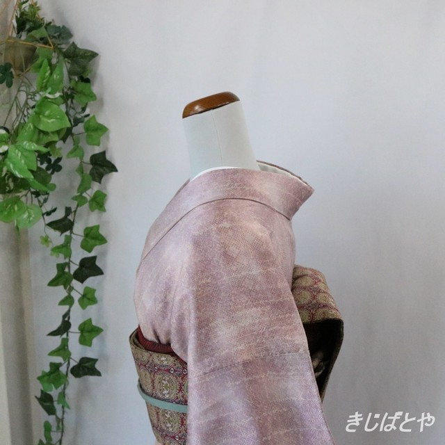 正絹ちりめん たまご色に菊の小紋 袷