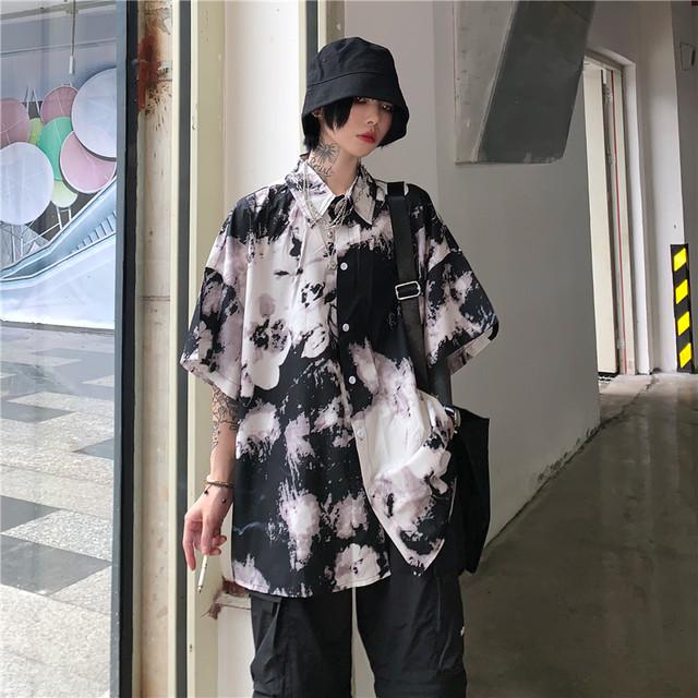 【期間限定の特価品 300円減ります】「トップス」韓国系総柄半袖POLOネックシャツ20284760