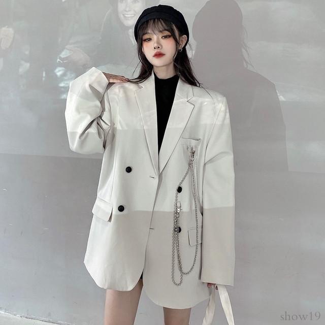 【アウター】韓国系ストリート系合わせやすい大人気着まわし力抜群チェーンスーツジャケット33562772